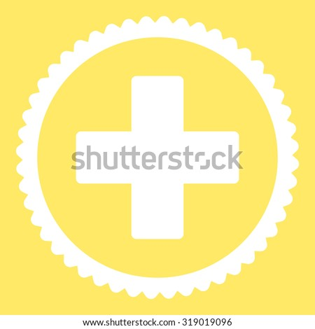 Plus round stamp icon. This flat glyph symbol is drawn with white color on a yellow background. - stock photo
