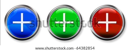 Plus Sign 3-D RGB Buttons - stock photo