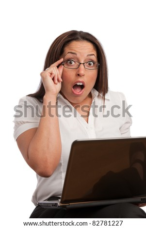 Plus Size Business Woman Surprise Expression in Front of Computer
