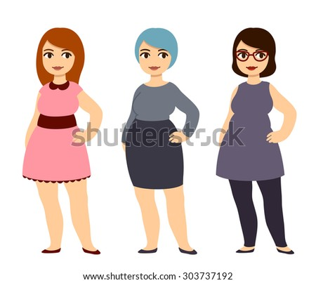 Plus size fashion. Young beautiful cartoon girls wearing cute clothes. - stock photo