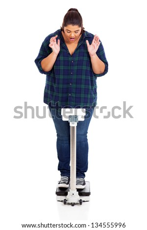 plus size teen girl shocked when weighting herself on scale - stock photo