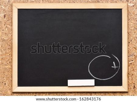 Plus written on chalkboard, getting great grades  - stock photo
