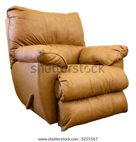 Plush Saddle Brown Rocker Recliner Chair - stock photo