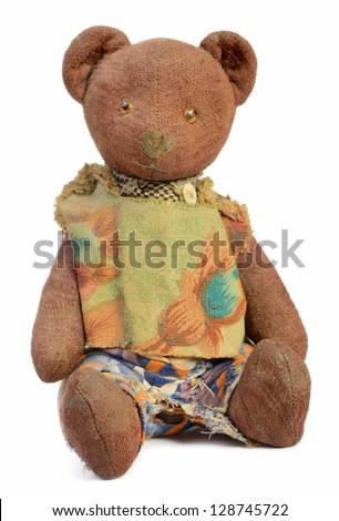 Plush teddy bear isolated on white background - stock photo