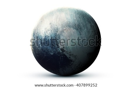 Pluto - High resolution 3D images presents planets of the solar system. This image elements furnished by NASA - stock photo