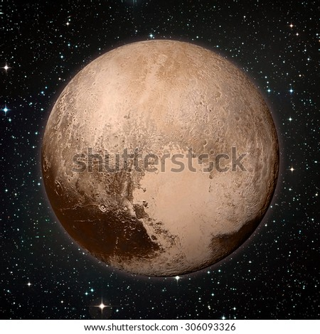 Pluto is a dwarf planet in the Kuiper belt, a ring of bodies beyond Neptune. It is the largest known dwarf planet in the Solar System. Retouched image. Elements of this image furnished by NASA. - stock photo