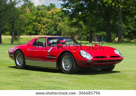 PLYMOUTH - JULY 26: A Bizzirrini Spyder on display July 26, 2015 at the Councors D'Elegance in Plymouth, Michigan. - stock photo