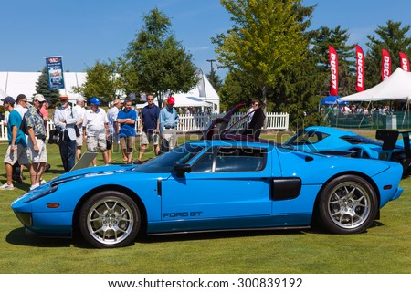 PLYMOUTH - JULY 26: A 2005 Ford GT on display July 26, 2015 at the Councors D'Elegance in Plymouth, Michigan. - stock photo