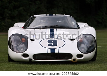 PLYMOUTH - JULY 27: A Ford GT race car on display July 27, 2014 at the Concours D' Elegance Plymouth, Michigan. - stock photo