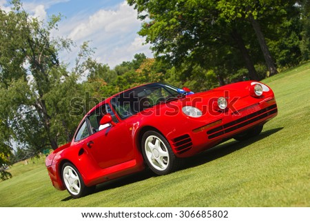 PLYMOUTH - JULY 26: A Porsche 959 on display July 26, 2015 at the Councors D'Elegance in Plymouth, Michigan. - stock photo