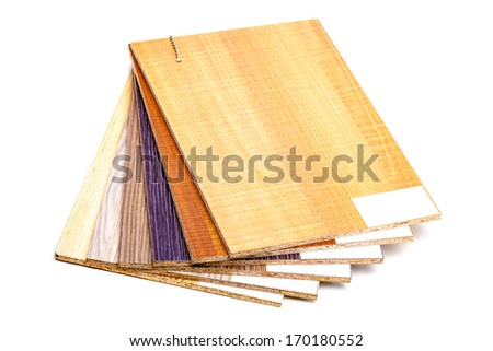 plywood sample designs, isolated on white - stock photo