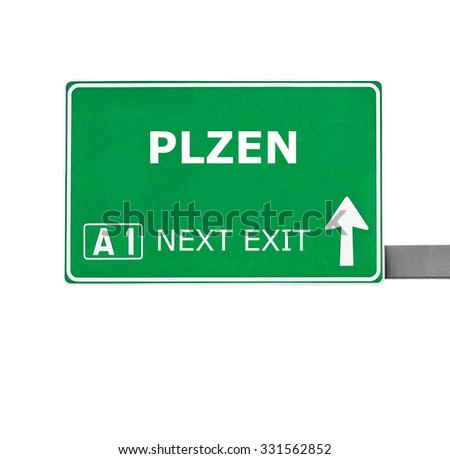 PLZEN road sign isolated on white