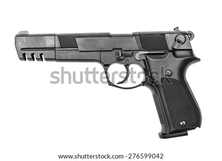 Pneumatic air pistol calibre 4,5mm isolated on the white - stock photo