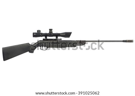 pneumatic air rifle with scope sight isolated on white background  - stock photo