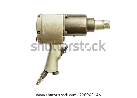 pneumatic wrench in isolate on white. - stock photo