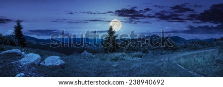 pnoramic collage  landscape. boulders on the meadow with path on the hillside and two pine trees on top of mountain range at night in full moon light - stock photo
