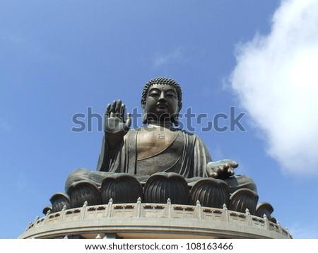 Po Lin Monastery, Giant Buddha, in Hong Kong - stock photo
