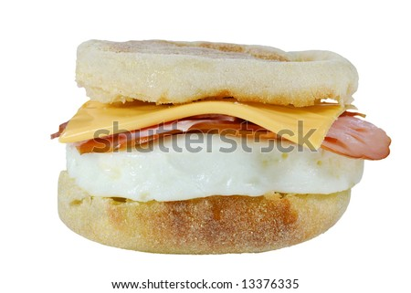 poached egg ham cheese on a english muffin