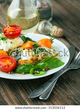 Poached egg with baked vegetables