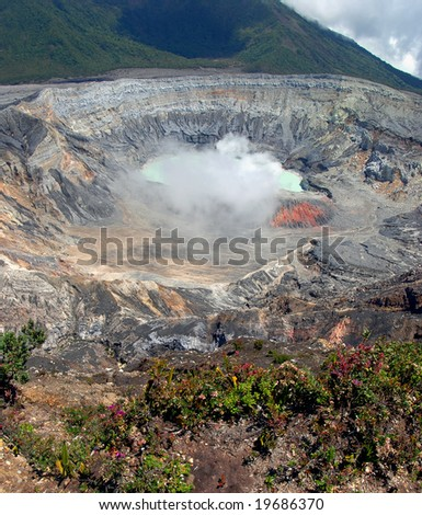 Poas Volcano Crater - stock photo