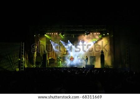 "POBLADURA DE ALISTE - AUGUST 17: Popular Spanish band ""Medina Azahara"" performs onstage at his concert in Pobladura de Aliste on August 17, 2005 in Zamora, Spain - stock photo"