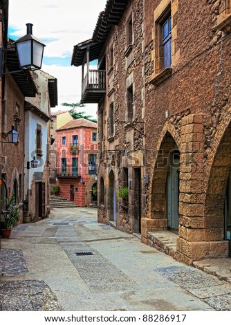 Poble Espanyol(traditional architectural complex) in Barcelona, Spain - stock photo