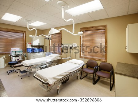 Pocatello, Idaho, USA Dec. 5, 2008 An interior view of a Doctor's exam room in an urgent care facility. - stock photo