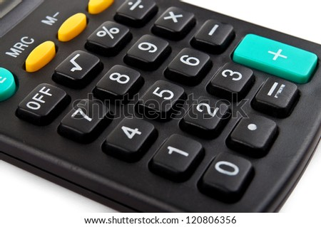 pocket calculator on a white background - stock photo