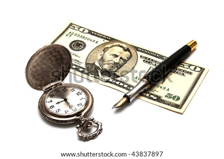 pocket clock, pen and banknote - stock photo