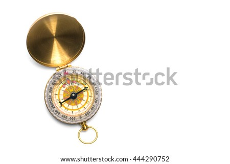 Pocket compass isolated on white background - stock photo