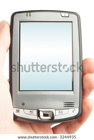 Pocket computer in a hand. With the schedule on the screen on a white background