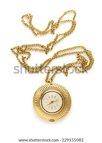 Pocket golden watch with chain on white - stock photo
