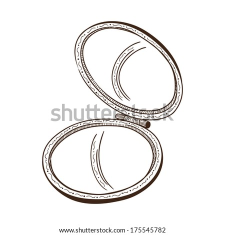 hand mirror sketch. Pocket Mirror. Hand Drawn Sketch Isolated On White Mirror C