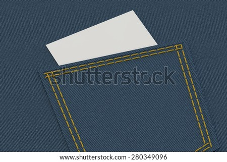 pocket of jeans in high resolution with the paper sticker which is sticking out of it - stock photo