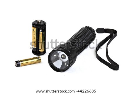 Pocket small lamp with a light-emitting diode, convenient and practical at use on fishing, hunting and in a backpacking - stock photo