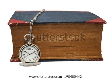 Pocket Watch and Big Old Book on White Background - stock photo