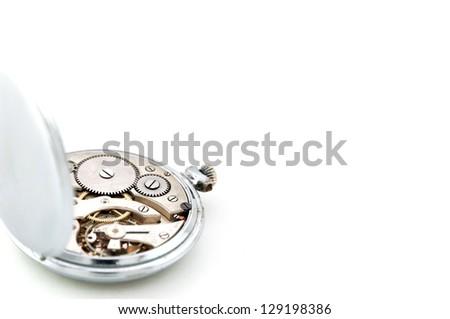 Pocket watch inside on white background - stock photo
