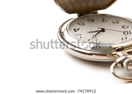 Pocket watch isolated white - stock photo