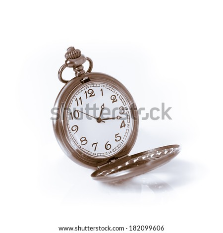 Pocket watch on isolated white background.