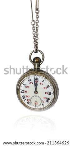 Pocket watch on white background. - stock photo