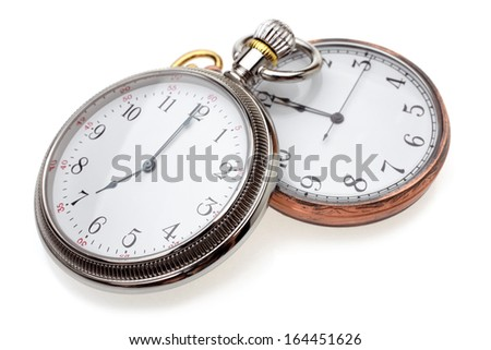 Pocket watches on a white background
