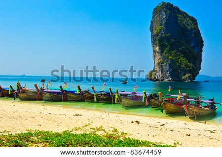 Poda island, Kra bi  Thailand - stock photo