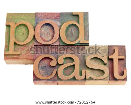 podcast word in vintage wood letterpress printing blocks, isolated on white
