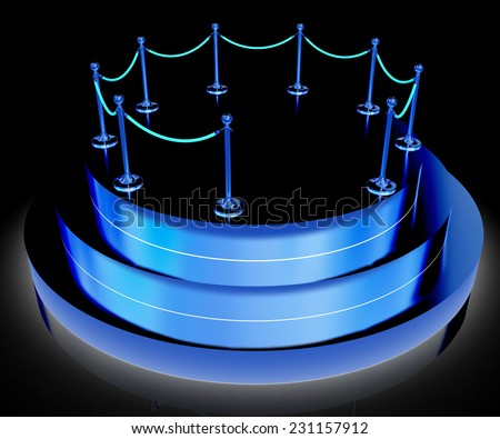 podium 3d on a black background - stock photo