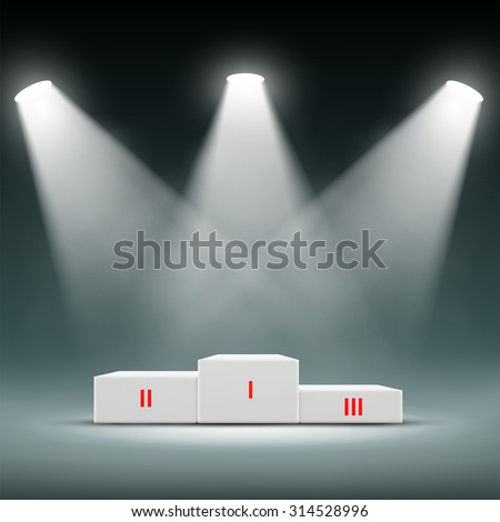 Podium for the winners. Awards Ceremony. Stock image. - stock photo