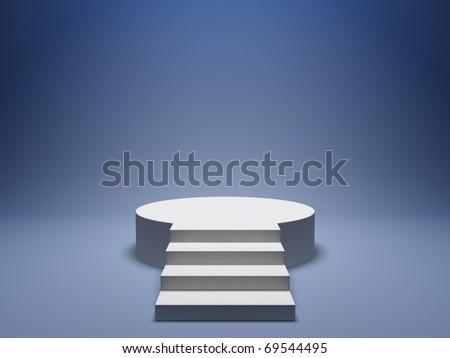 Podium for winner on blue background - stock photo