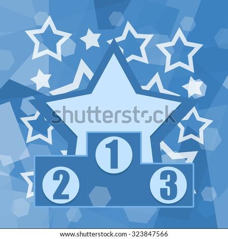 Podium of winners on blue starry background - stock photo