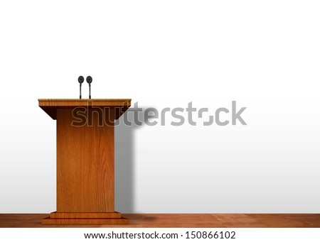 Podium on stage over white wall - stock photo