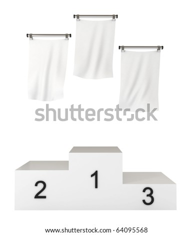Podium, winners, with blank flags, clipping path included, 3d illustration, isolated on white - stock photo