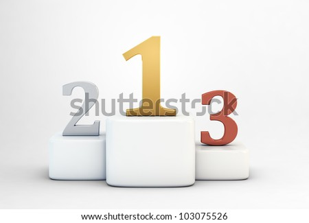 Podium with golden, silver and bronze numbers - stock photo